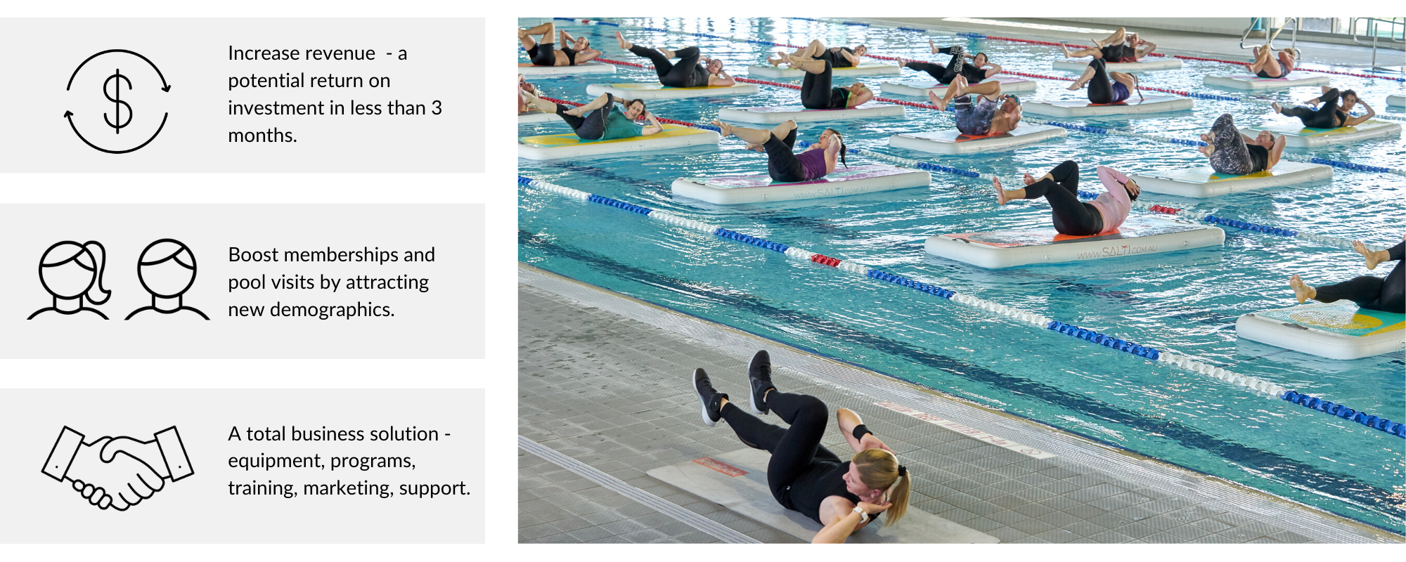 Run Salti group fitness classes at your pool - increase revenue, boost memberships, a total business solution