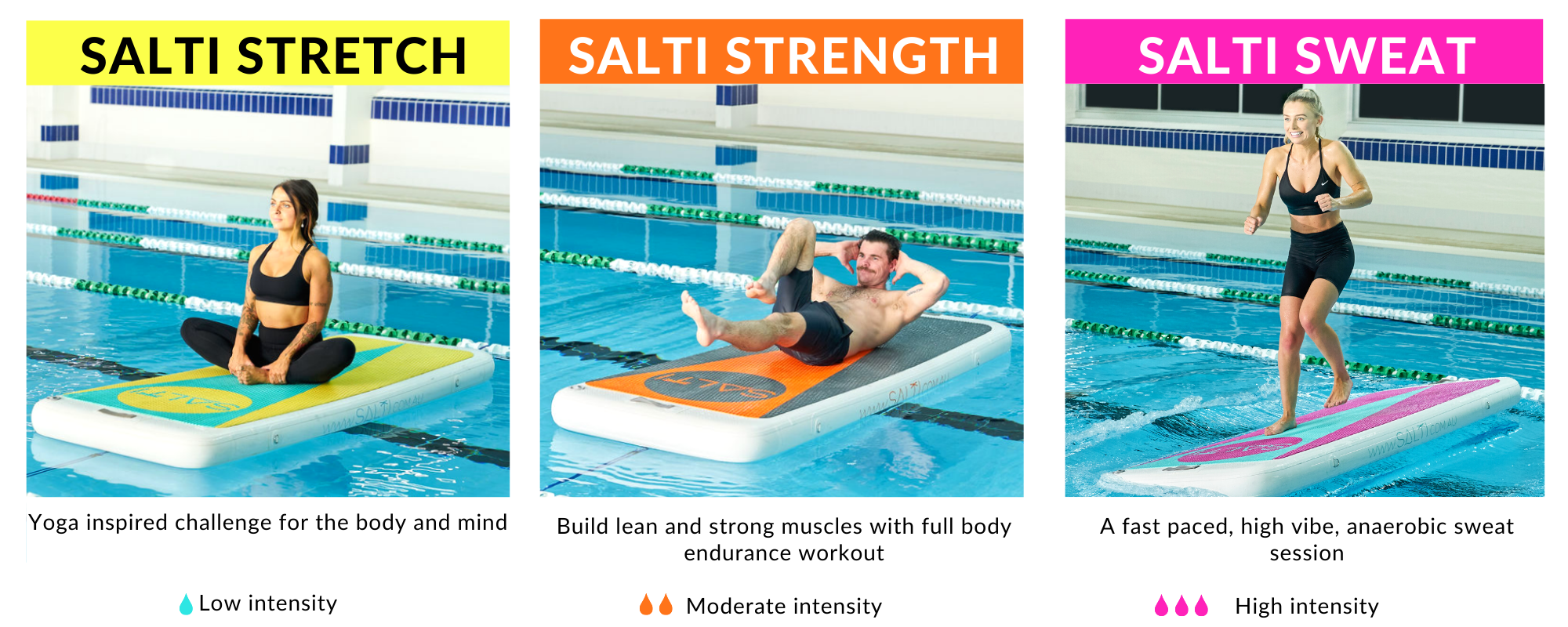 Salti Active - pre choreographed class plans for floating group fitness classes - Yoga inspired Salti Stretch, Salti Strength, Salti Sweat HIIT style
