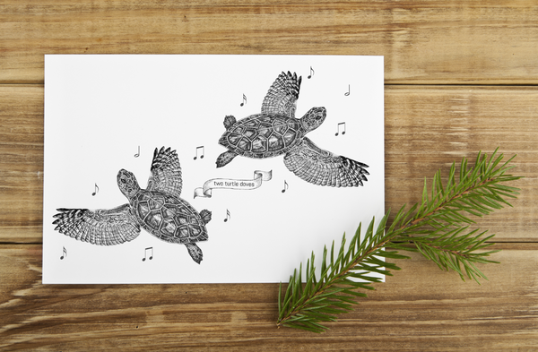 Turtle Doves Christmas Card