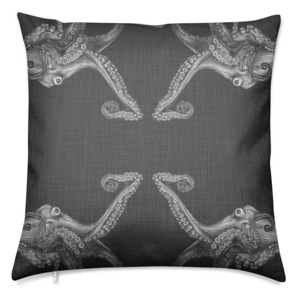 Octopus Charcoal Medium Cushion