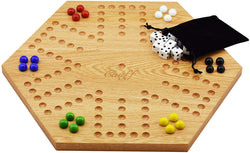 Solid Oak Double Sided Aggravation Marble Board Game Wooden 16 inch