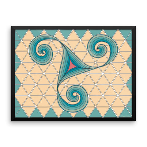 "The ""Dancing Spirals"" Poster, in teal, sand, and coral"