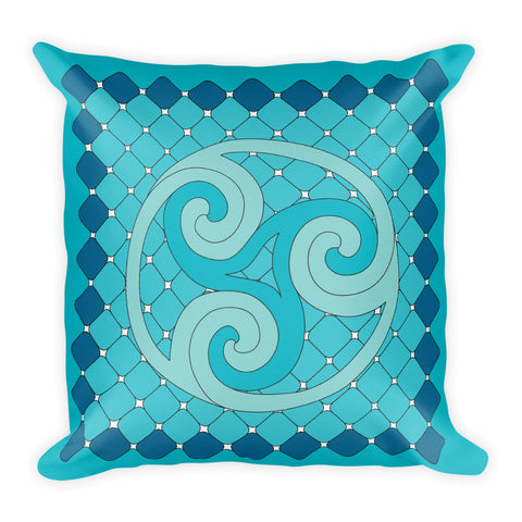 """Earth, Sea, and Sky"" Designer Pillow in blue"