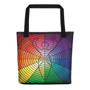 """Circled Whole"" Designer Bag in Rainbow Colors"