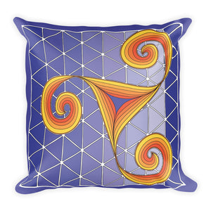"""Dancing Spirals"" Designer Pillow in purple and gold"