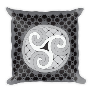 """Earth, Sea, and Sky"" Designer Pillow in gray, black, and white"