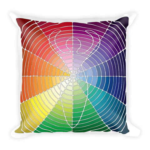 """Circled Whole"" Designer Pillow in rainbow colors"