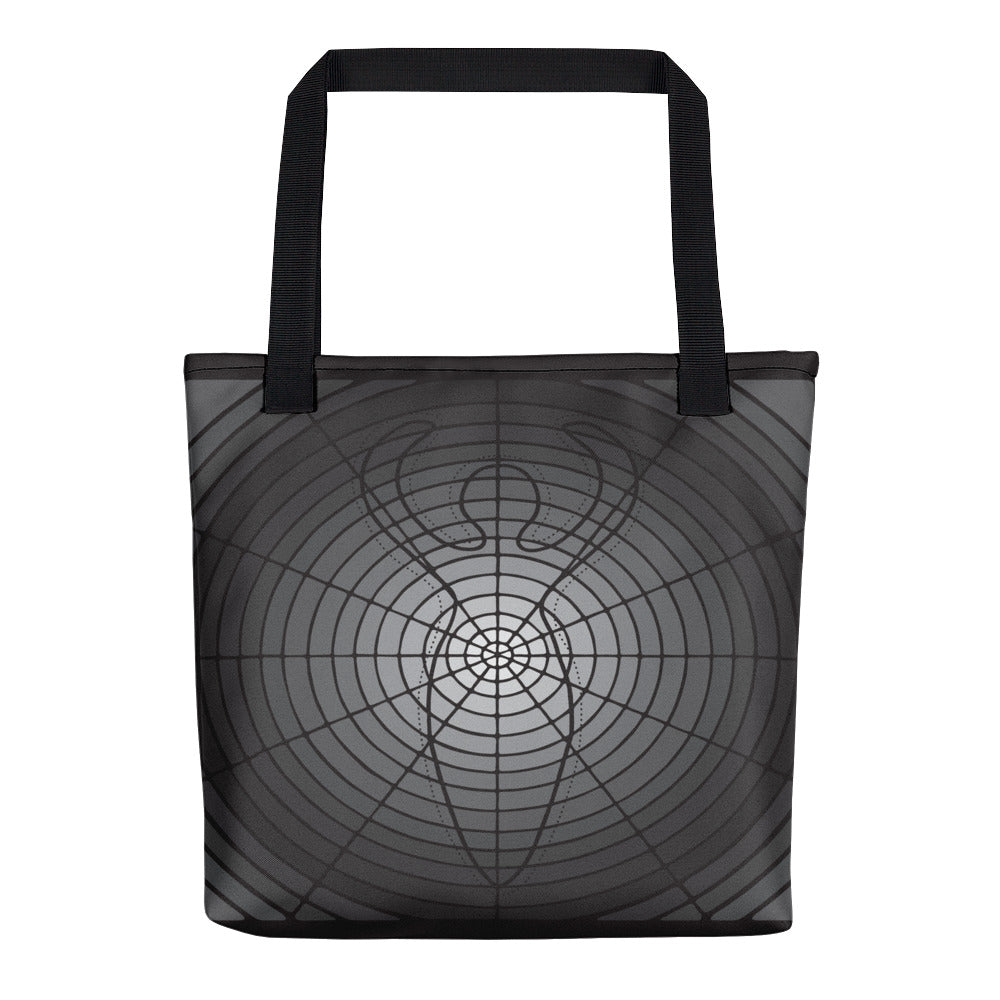 """Circled Whole"" Designer Bag in Silver and Black"