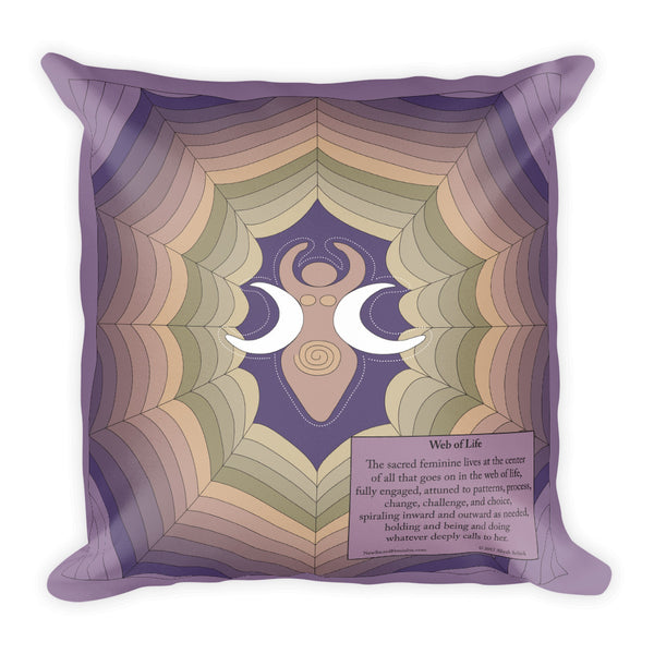 """Web of Life"" Designer Pillow in mystical greens to purples"