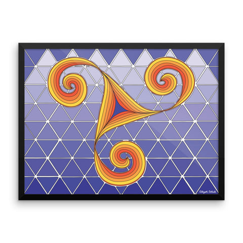"The ""Dancing Spirals"" Poster, in purple and orange"