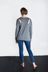 MATRON SAINT the innovator maternity long-sleeve cutout top charcoal 102