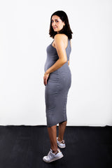 MATRON SAINT the monarch maternity racerback tank dress charcoal 100
