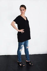 MATRON SAINT the premier maternity short-sleeve v-neck top black 130