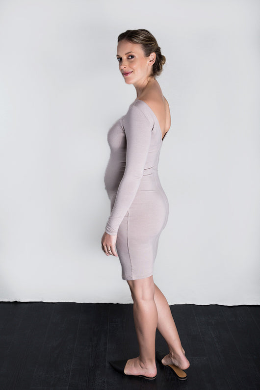 MATRON SAINT the queen maternity v-back dress dusty rose 141