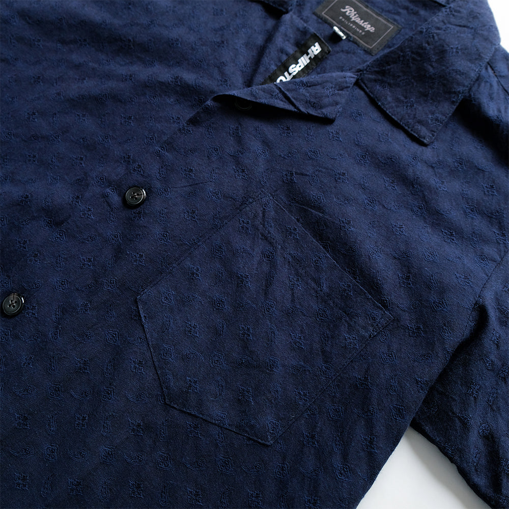 Button Down Summer Shirt 'Paisley Navy Blue'