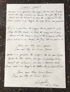 """Circus Games"" lyrics - Handwritten by Richard Jobson"