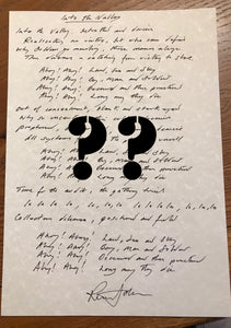 Dedicated SKIDS Lyrics of YOUR choice - Handwritten by Richard Jobson : £37.50