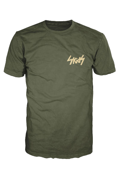 Green Skids t shirt with Cream Logo (Breast)