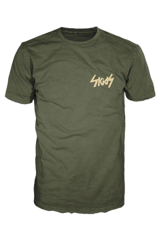 Green Skids t shirt with Cream Logo (Breast) - £7.50