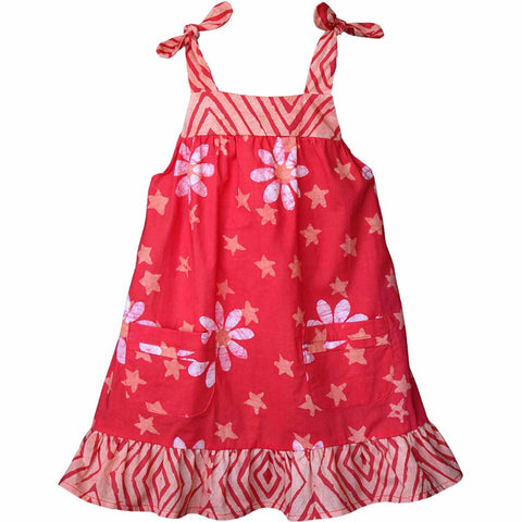 Girls Pocket Dress - Papaya Daisy Star - Global Mamas (C)