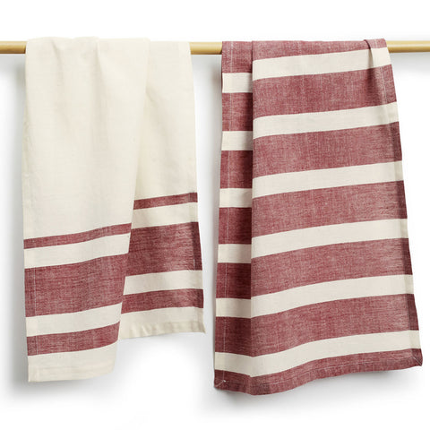 Maroon Cotton Tea Towels Set of 2 - Sustainable Threads (L)