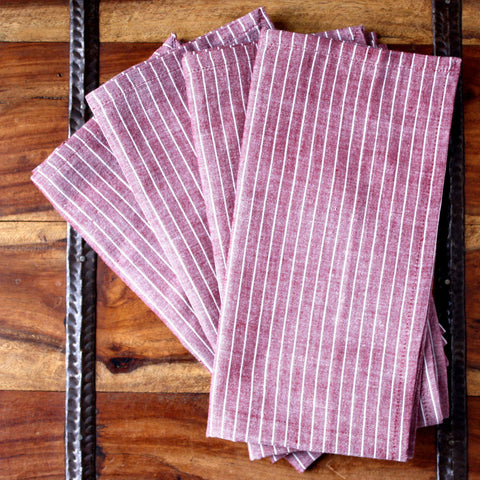 Red Stripe 20 inch Cotton Napkin Set of 4 - Sustainable Threads (L)
