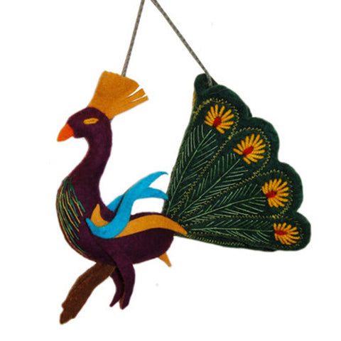 Forest Green Peacock Felt Holiday Ornament - Silk Road Bazaar (O)