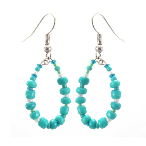 Trio of Hope Hoop Earring - Turquoise - Lucias Imports (J)