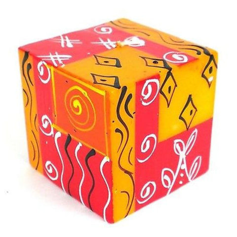 Hand-Painted Cube Candle - Zahabu Design Handmade and Fair Trade