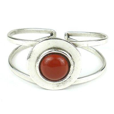 Jasper in the Round Silverplated Cuff - Brass Images
