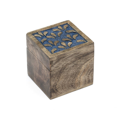 Holi Color Rub Wood Keepsake Box - Botanical - Matr Boomie (B)