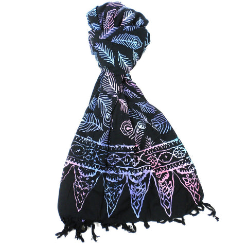 Handmade Sarong Black with Color Print -Designs will Vary - Global Groove (W)