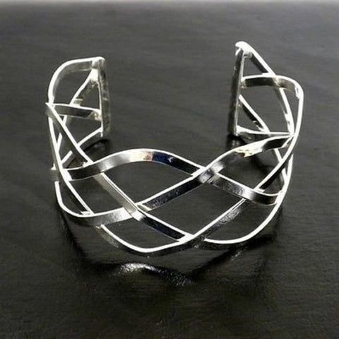 Silver Overlay Cuff  Woven Design Handmade and Fair Trade