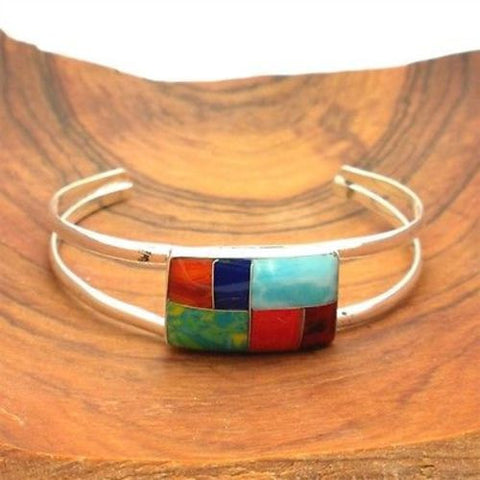 Rectangle Mosaic Stone Bracelet Handmade and Fair Trade