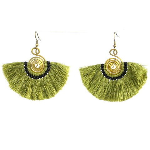 Flamenco Fringe Earrings - Olive - Global Groove (J)