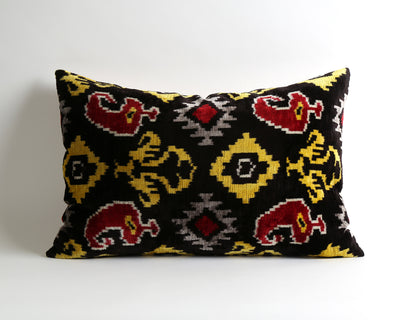 Michaela handwoven silk velvet ikat pillow cover - pillowmehome