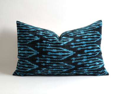 Handwoven silk velvet ikat pillow cover - pillowme