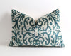 Florence green ikat velvet pillow cover - pillowme