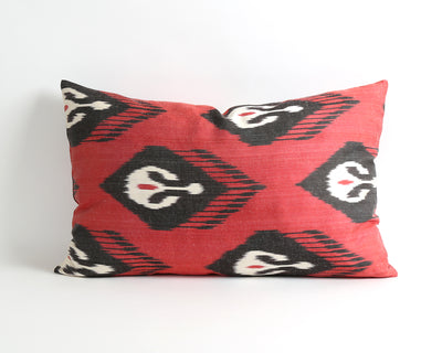 Justine red silk ikat cushion cover - pillowmehome