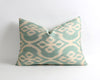 Aliza green handwoven & hand dyed silk ikat pillow cover - pillowme