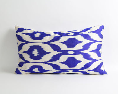 Adrienne blue silk ikat throw pillow cover - pillowme