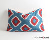 Raven blue silk ikat pillow cover - pillowmehome