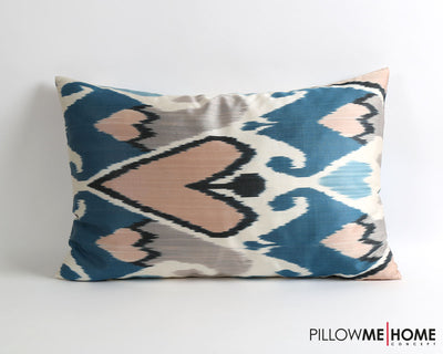 Claudia blue hand dyed silk ikat pillow cover - pillowme