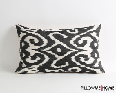 Halle black & white silk ikat pillow cover - pillowme
