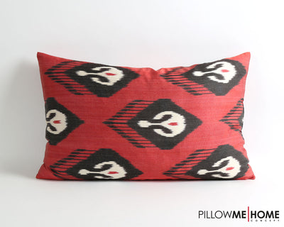 Yazmin red handwoven silk ikat pillow cover - pillowmehome