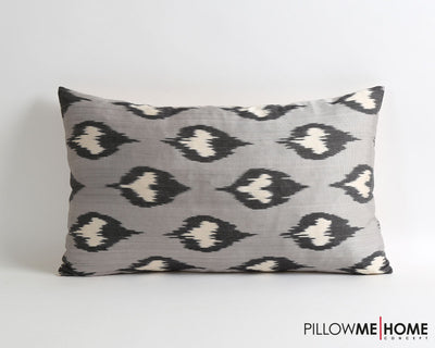 Carley gray handwoven & hand dyed silk ikat pillow cover - pillowme