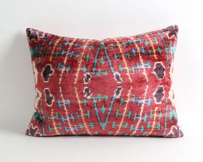 Lia red ikat velvet pillow cover
