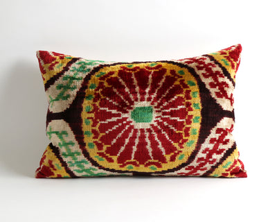 Abigail decorative ikat velvet pillow cover - pillowme