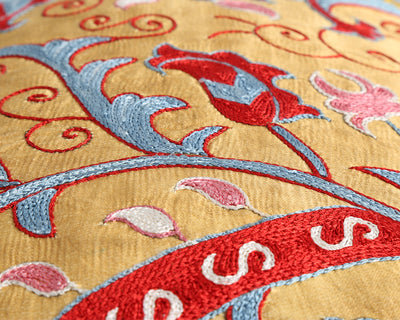 Violet embroidered silk suzani cushion cover