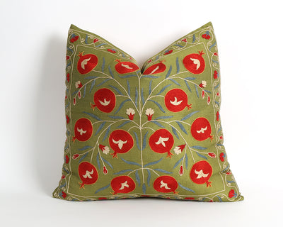 Casey green floral suzani pillow cover - pillowme